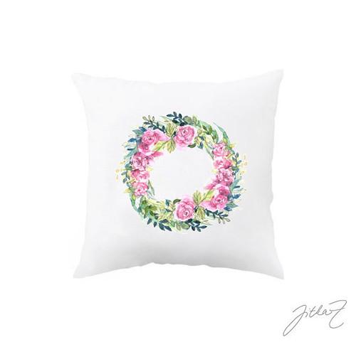 Růžový věneček.dekorační polštář s akvarelem