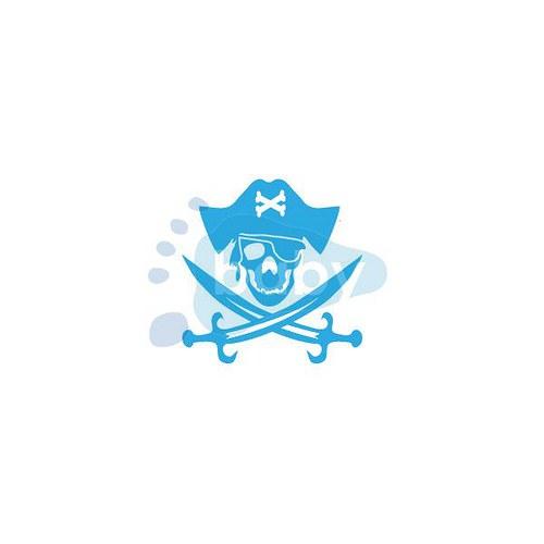 Razítko pirátská lebka s páskou přes oko
