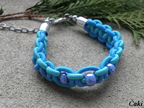 Pletený náramek- modrá, zelenkavá