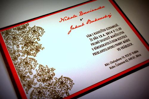 Svadobné oznámenie - čokoládovo červené
