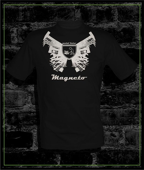 Tričko černé Magneto se stříbrným potiskem