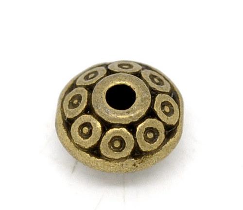 kovový korálek antický bronz 6x4 mm/ 6ks