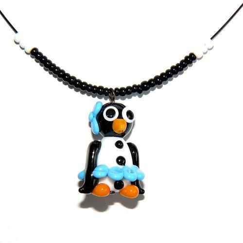 Tučňáčí holka v modré sukni - vinutá perle