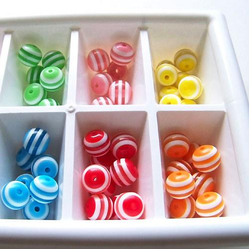 kuličky pruhované / plast / 12mm/ růžová sv./ 10ks