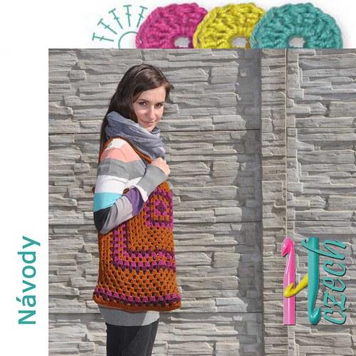 Háčkovaná taška ala patchwork hnědá