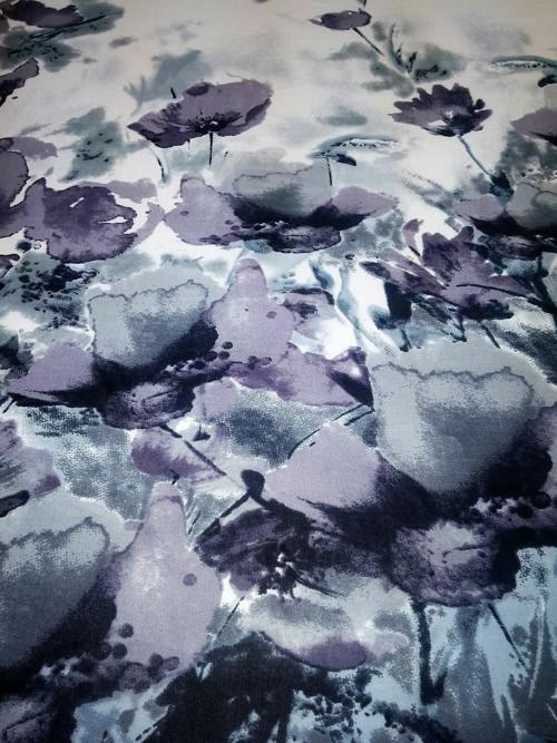 Úplet abstraktní květinový vzor v bordurách šedý