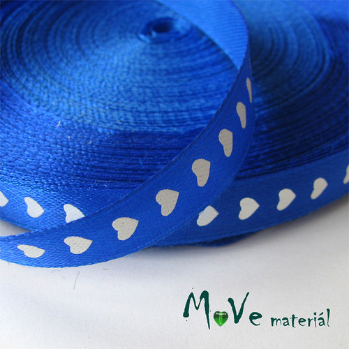 Stuha saténová srdíčka 10mm, 1m, modrá