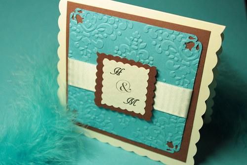 Svadobné oznámenie - hnedo tyrkysové