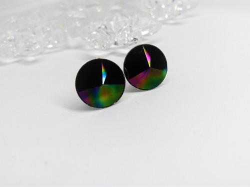 Ocelové náušnice - Rainbow Dark 12mm