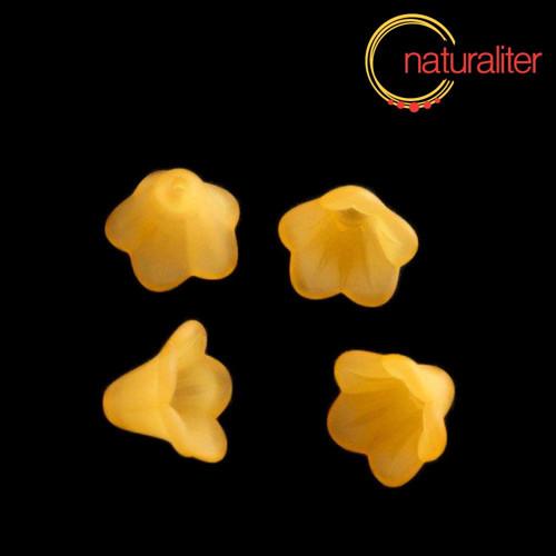 Květina akrylová - zvonek 14mm oranžová, 8ks