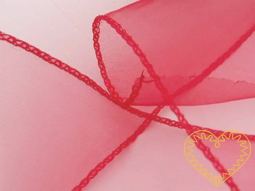 organza červená, š=10 cm