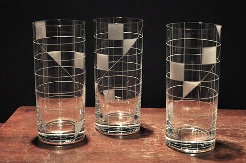 Sklenky na vodu/pivo 300 ml ČTVEREČKY (6ks)
