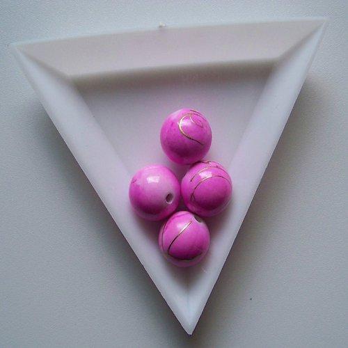 akrylové korálky, žíhané, 12mm / růžové / 6ks