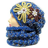 Originální zimní značkové pletené a háčkované čepice,ušanky a nákrčníky Ledova