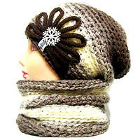 Originální zimní značkové pletené a háčkované čepice,ušanky, kulichy a nákrčníky Ledova