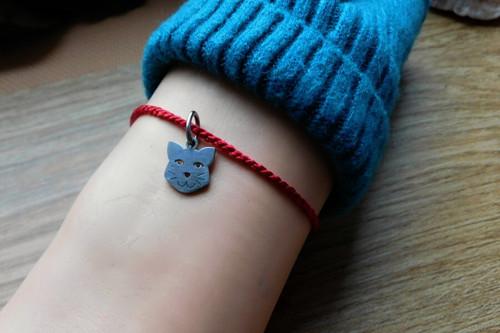 Náramek - S nerezovou kočkou a kostičkou.... ♥
