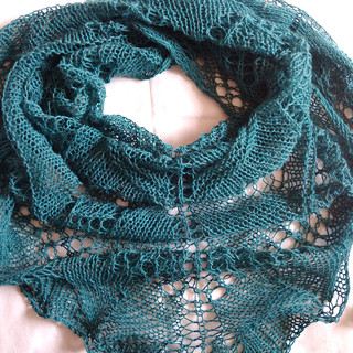 Maxi krajkový  tyrkys šátek z alpacy