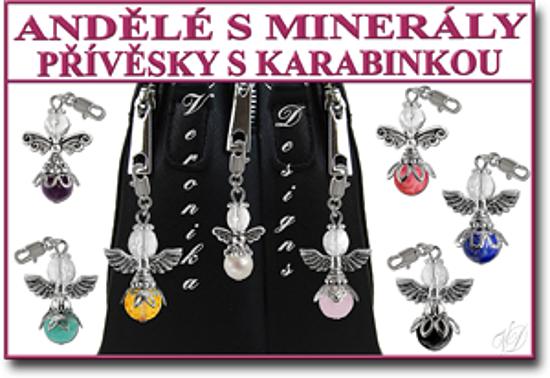 Andělé přívěsky s minerály s karabinkou