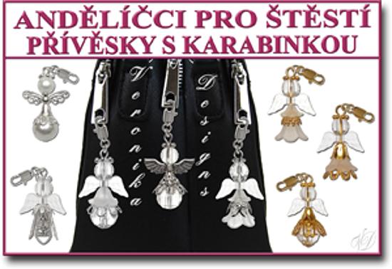Andělíčci pro štěstí přívěsky s karabinkou módní doplněk na klíče a kabelku