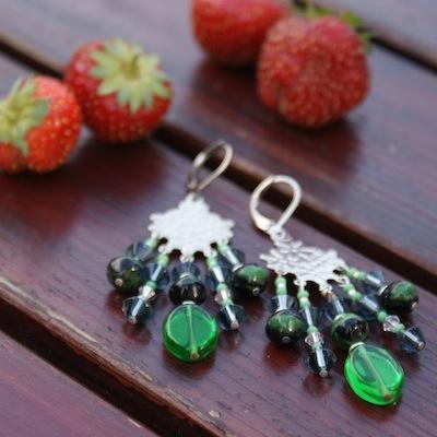 Zelené korálkové náušnice