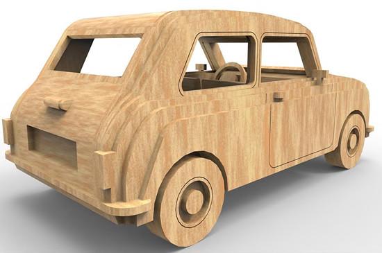 Dřevěná skládačka Mini Cooper