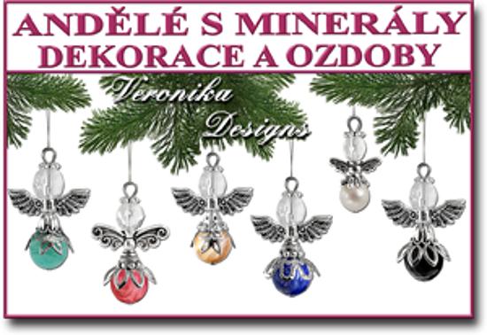 andělé pro štěstí s minerály vánoční ozdoby a dekorace