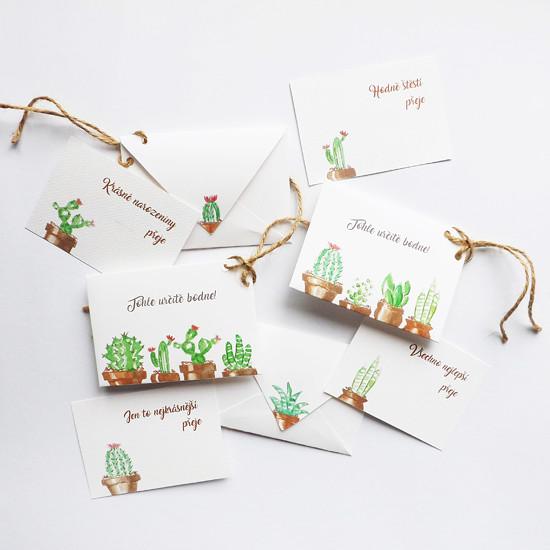 Kaktusové obálky na peníze s přáním