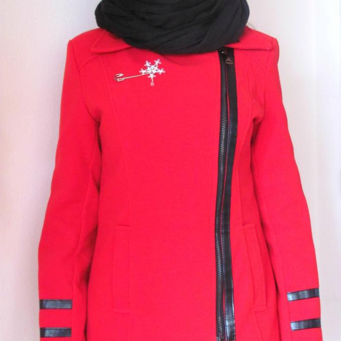na zimním kabátku