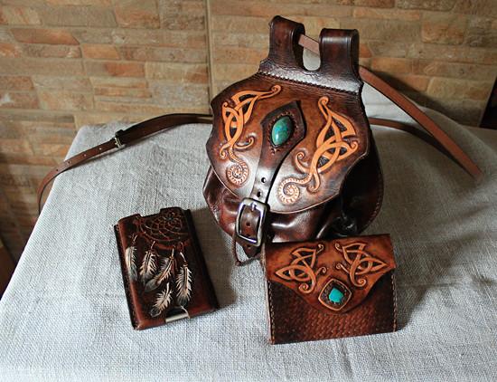 kožená kabelka s peněženkou a pouzdrem na mobil