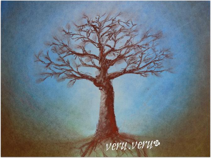 strom - suchý pastel