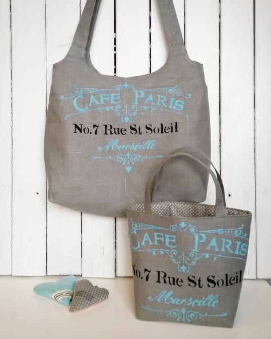 Lněná taška pro mamku a dcerku